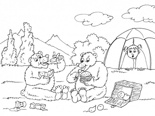 Coloriage et dessins gratuits Ours infiltre Camping à imprimer