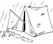 Coloriage et dessins gratuit Pêcherie pendant La pluie à imprimer