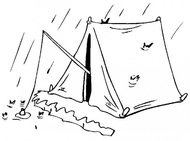 Coloriage et dessins gratuits Pêcherie pendant La pluie à imprimer