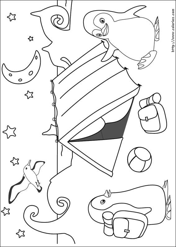Coloriage et dessins gratuits Pingouin Camping à imprimer