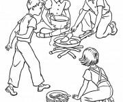 Coloriage Repas en Camping
