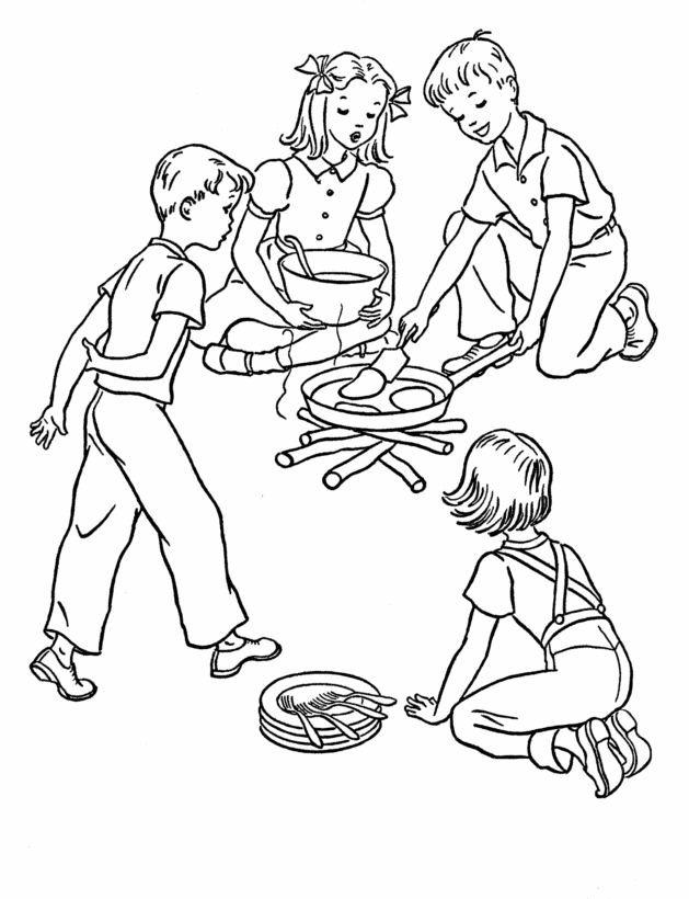 Coloriage et dessins gratuits Repas en Camping à imprimer