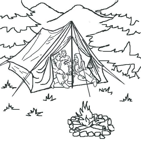 Coloriage et dessins gratuits Tente Camping à imprimer
