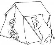 Coloriage et dessins gratuit Tente Camping et Ours qui fait Peur à imprimer
