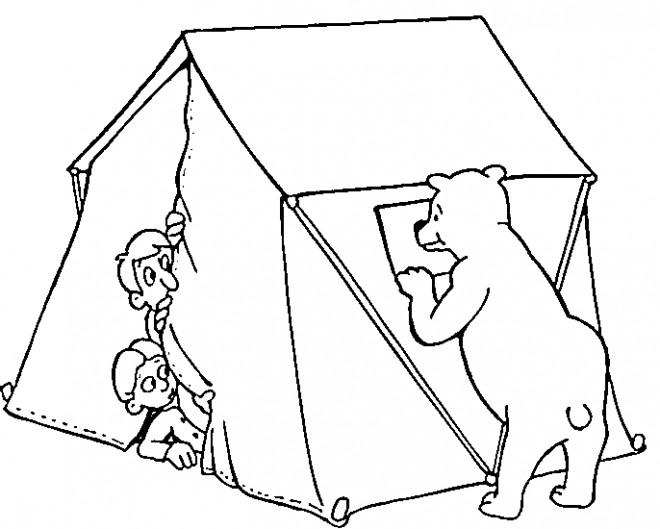 Coloriage et dessins gratuits Tente Camping et Ours qui fait Peur à imprimer
