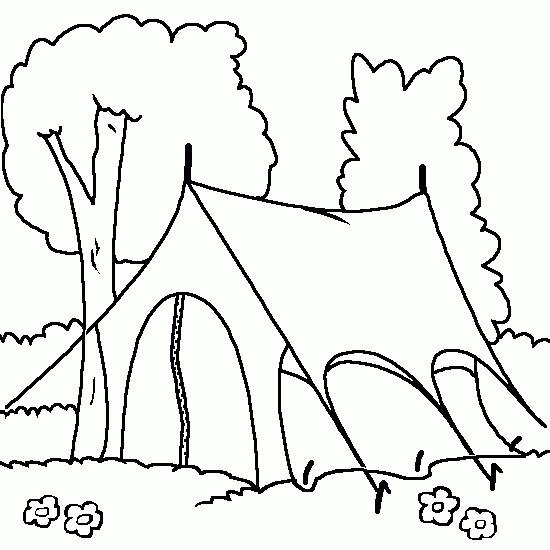 Coloriage et dessins gratuits Tente Camping monté à imprimer