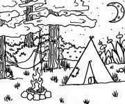 Coloriage Tente de Camping dans la forêt