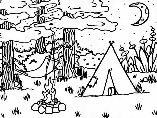 Coloriage tente de camping dans la for t dessin gratuit imprimer - Dessin a colorier camping car gratuit ...