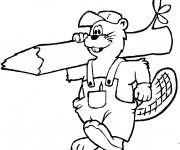 Coloriage et dessins gratuit Castor charpentier à imprimer