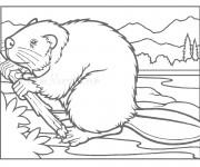 Coloriage et dessins gratuit Castor et Le bois à imprimer