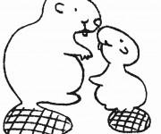 Coloriage et dessins gratuit Castor et son Petit à imprimer