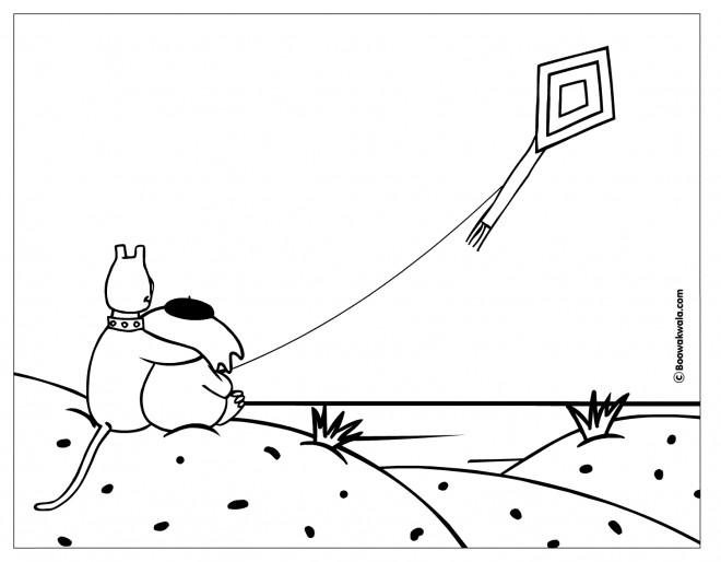 Coloriage et dessins gratuits Animaux et leur Cerf-volant à imprimer