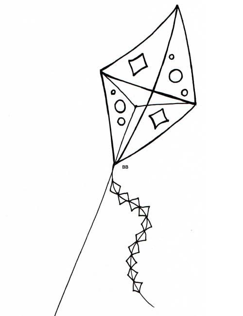 Coloriage et dessins gratuits Cerf-volant à découper à imprimer