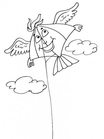 Coloriage et dessins gratuits Cerf-volant avec des ailes à imprimer