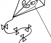 Coloriage Cerf-volant avec visage