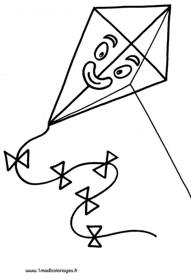 Coloriage et dessins gratuits Cerf-volant avec visage à imprimer