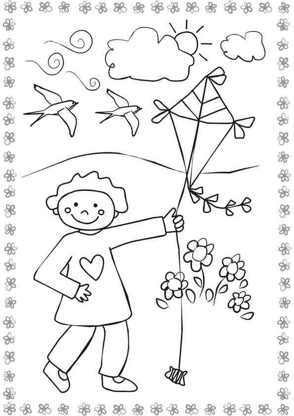 Coloriage et dessins gratuits Cerf-volant dans La Nature à imprimer