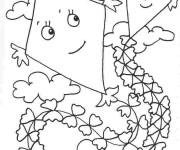 Coloriage Cerf-volant dans le ciel