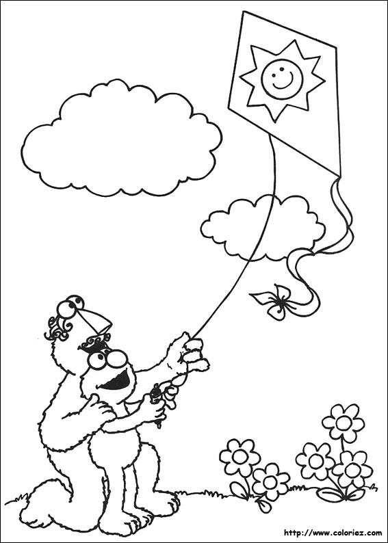 Coloriage et dessins gratuits Cerf-volant dessin animé à imprimer