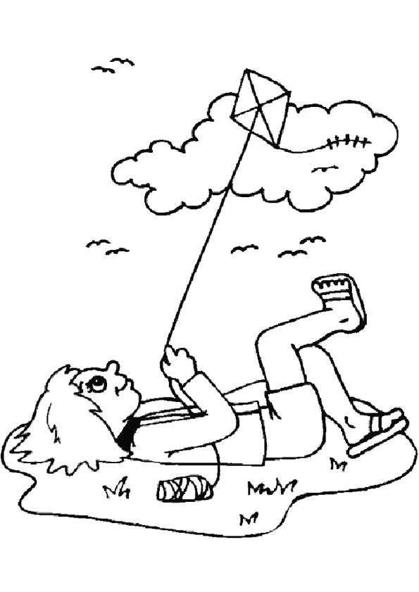 Coloriage et dessins gratuits Cerf-volant en plein air à imprimer