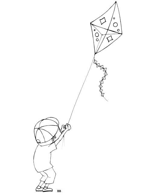 Coloriage et dessins gratuits Cerf-volant et Enfant à imprimer