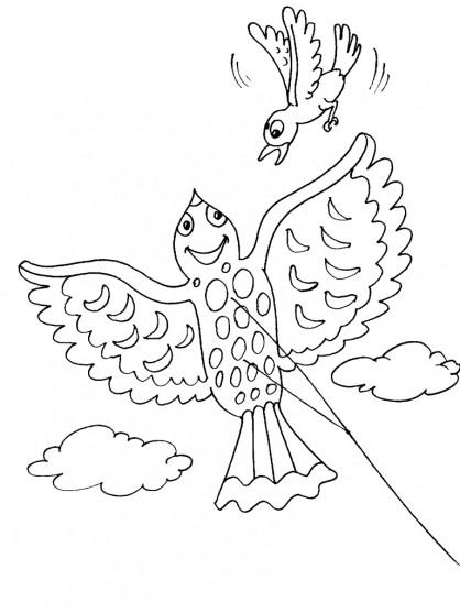 Coloriage et dessins gratuits Cerf-volant et L'oiseau à imprimer