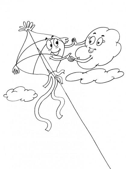 Coloriage et dessins gratuits Cerf-volant et Les Nuages à imprimer