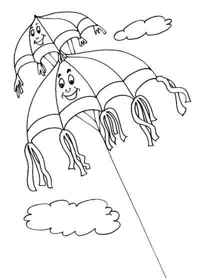 Coloriage et dessins gratuits Cerf-volant fantastique dans le ciel à imprimer