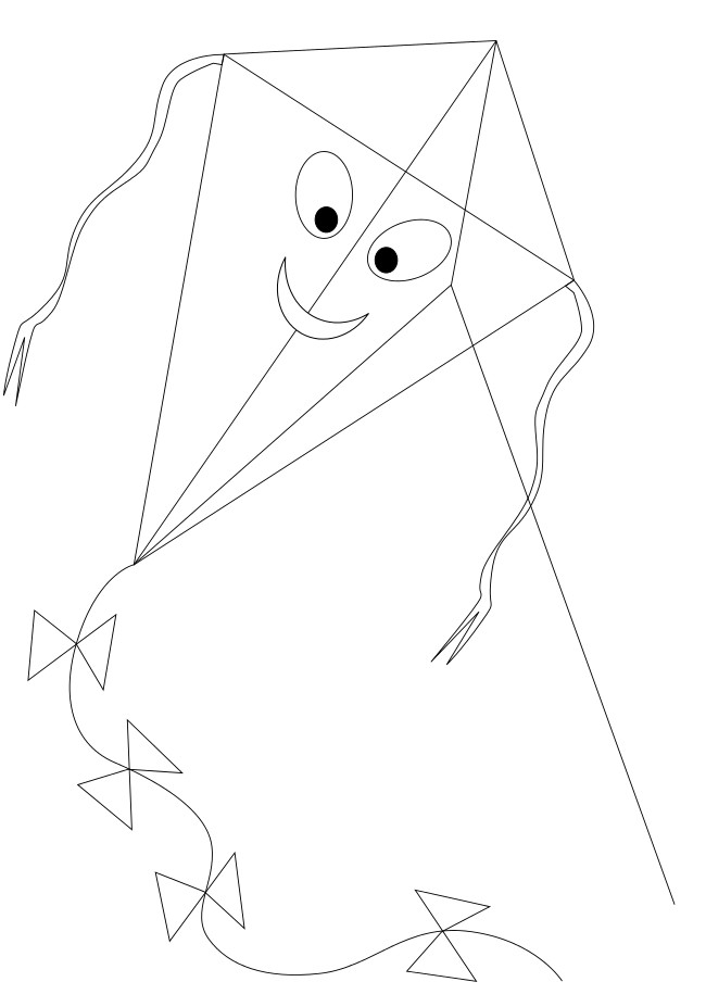 Coloriage et dessins gratuits Cerf-volant heureux à imprimer