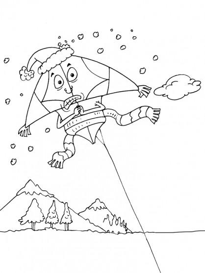 Coloriage et dessins gratuits Cerf-volant humoristique à imprimer