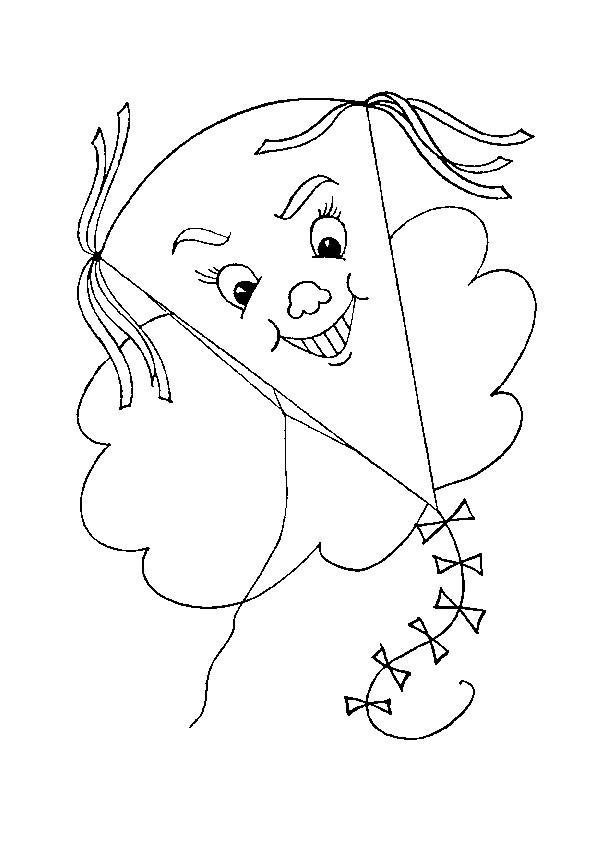 Coloriage et dessins gratuits Cerf-volant joyeux dans le ciel à imprimer