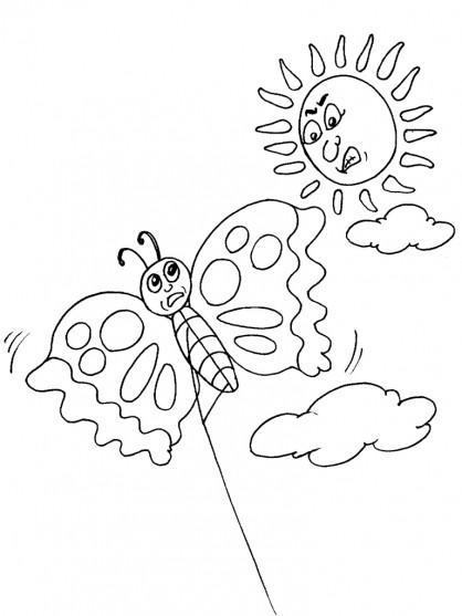 Coloriage et dessins gratuits Cerf-volant Papillon à imprimer