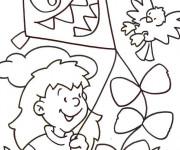Coloriage et dessins gratuit Cerf-volant qui fait peur à imprimer