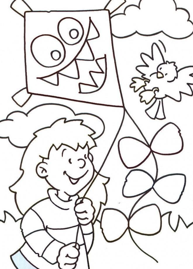 Coloriage et dessins gratuits Cerf-volant qui fait peur à imprimer