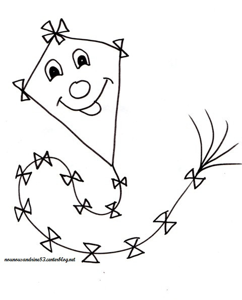 Coloriage et dessins gratuits Cerf-volant rigolo à imprimer