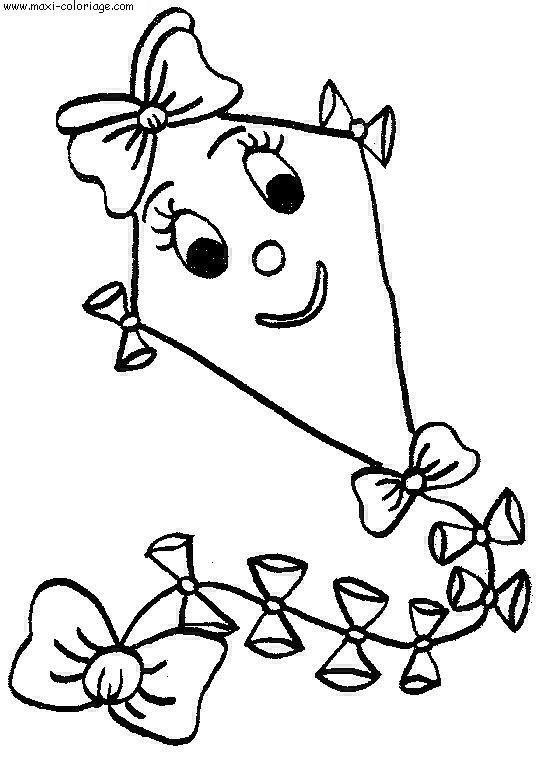 Coloriage et dessins gratuits Cerf-volant souriant à imprimer