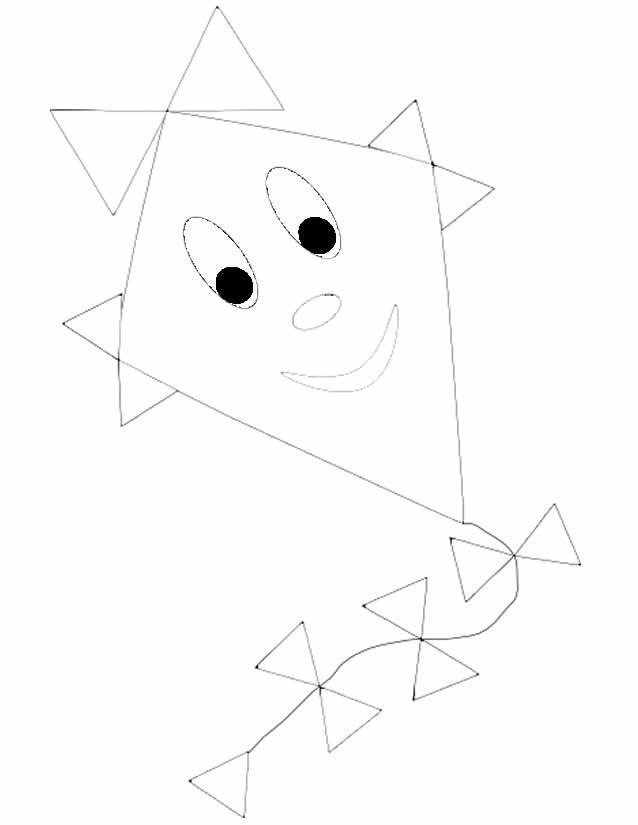 Coloriage et dessins gratuits Cerf-volant souriant en l'air à imprimer