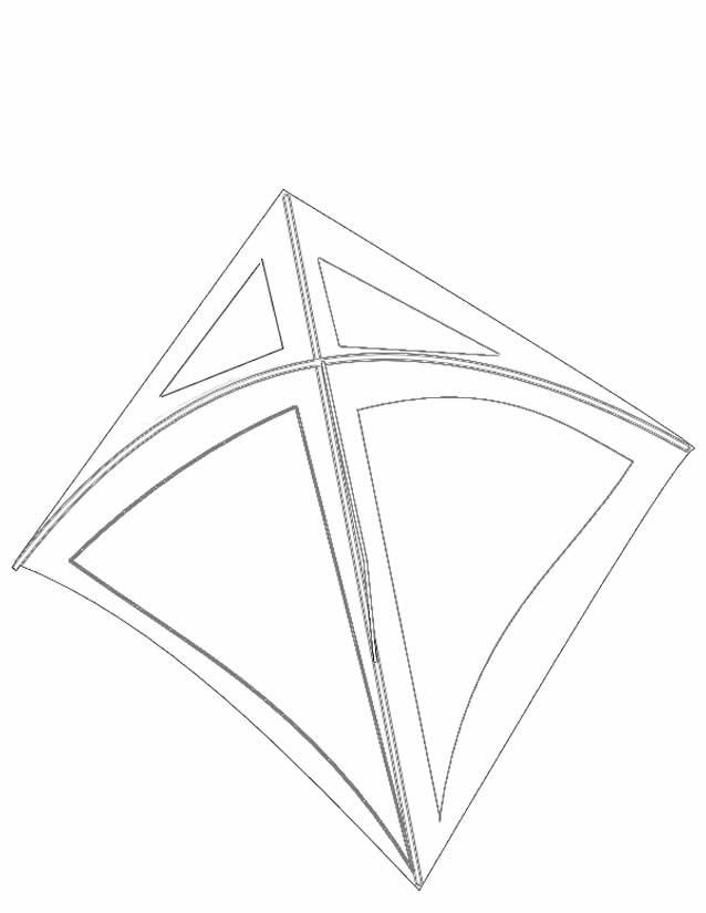 Coloriage et dessins gratuits Cerf-volant stylisé en couleur à imprimer
