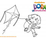 Coloriage et dessins gratuit Dora et Cerf-volant à imprimer