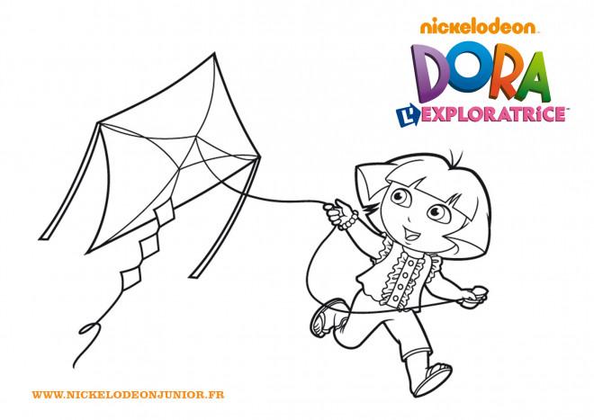 Coloriage et dessins gratuits Dora et Cerf-volant à imprimer