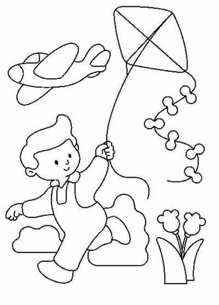 Coloriage et dessins gratuits Enfant avec le Cerf-Volant à imprimer