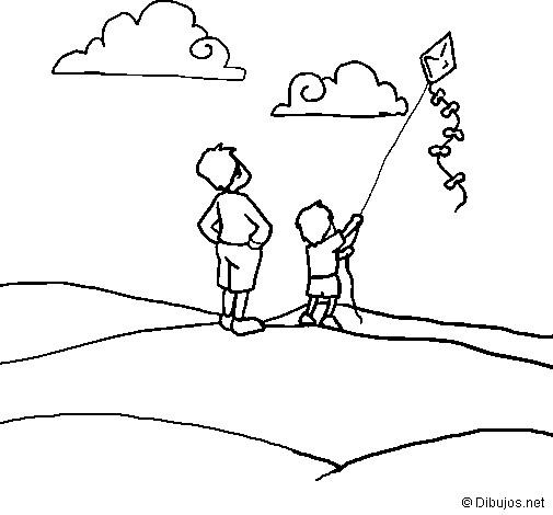 Coloriage Enfant Fait Voler Le Cerf Volant Dessin Gratuit A Imprimer