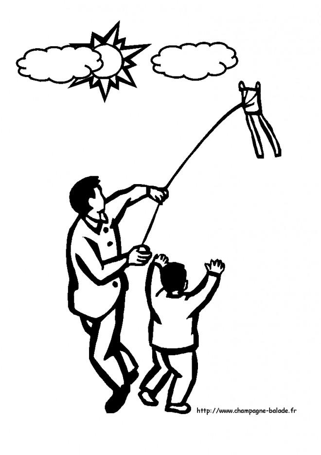 Coloriage et dessins gratuits Le Petit enfant joue avec Le Cerf-volant à imprimer