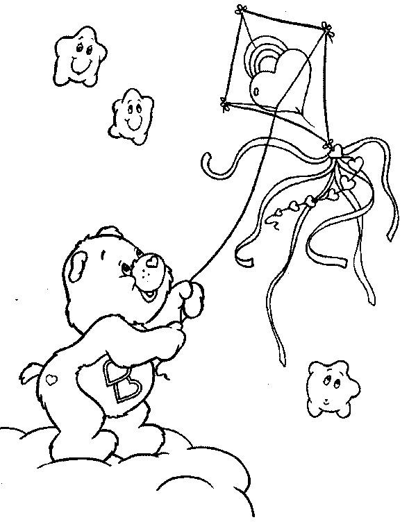 Coloriage et dessins gratuits Ours mignon et son Cerf-volant à imprimer