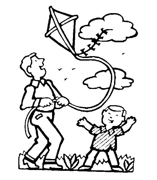 Coloriage et dessins gratuits Père et son Petit font voler Cerf-volant à imprimer