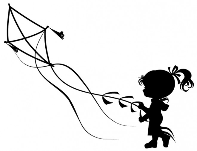 Coloriage Une Petite Fille Avec Le Cerf Volant Dessin Gratuit A Imprimer