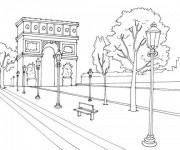 Coloriage et dessins gratuit Champs-Élysées en France à imprimer