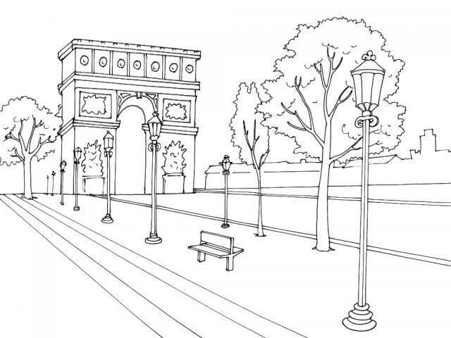 Coloriage et dessins gratuits Champs-Élysées en France à imprimer