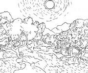 Coloriage Champs et les arbres