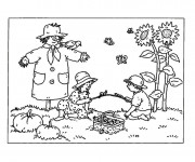 Coloriage et dessins gratuit Enfant dans Le Champs à imprimer